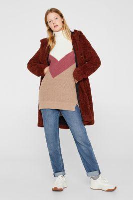 Blended wool: Colour block jumper, OFF WHITE 2, detail