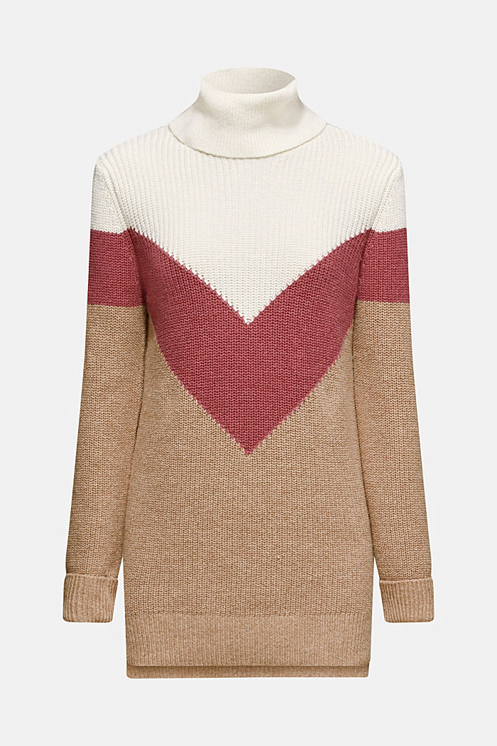 Blended wool: Colour block jumper, OFF WHITE, overview