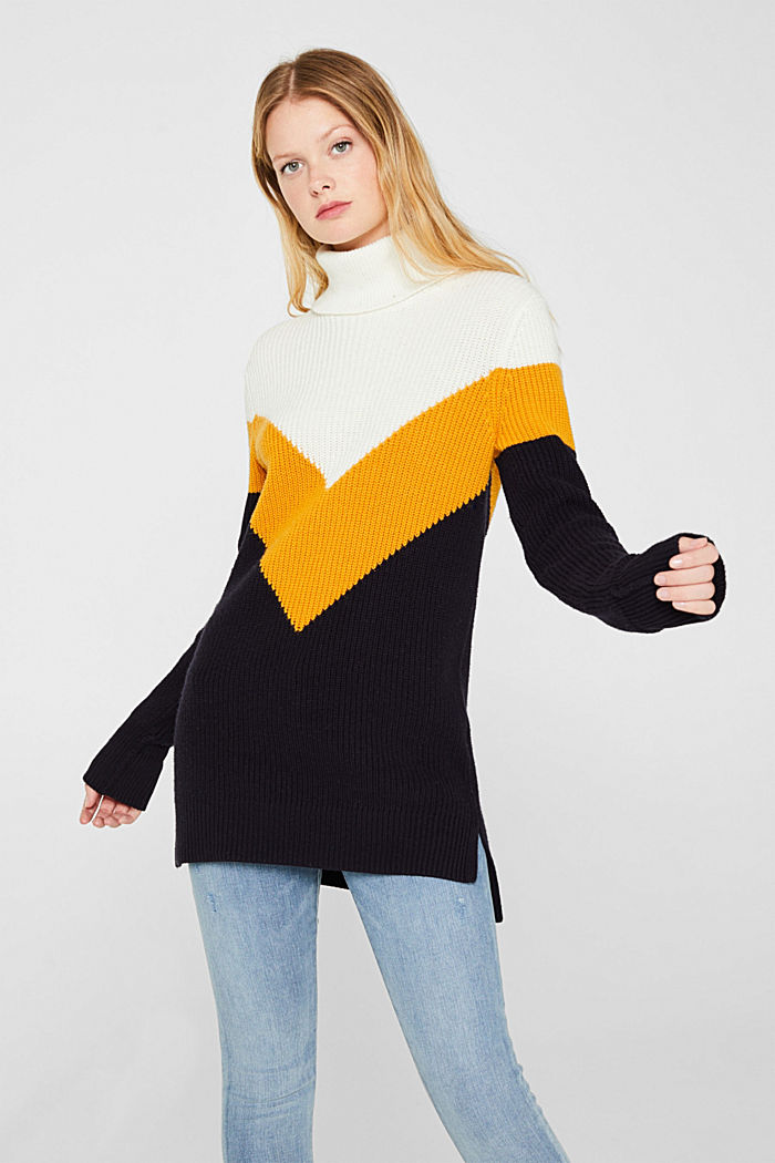 Blended wool: Colour block jumper, HONEY YELLOW, detail image number 0