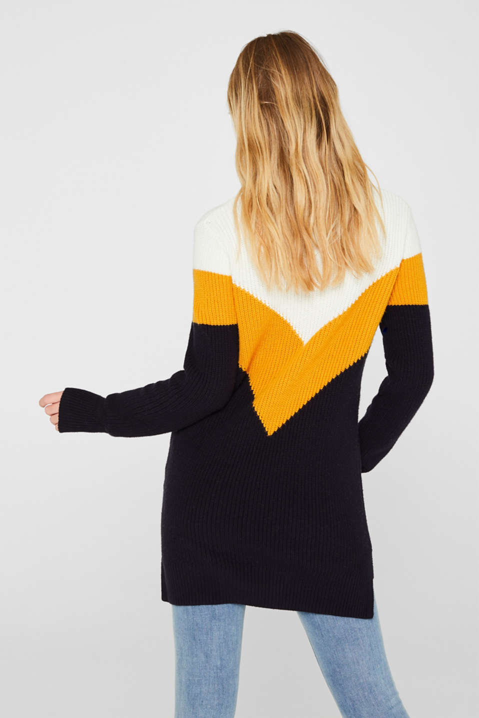 Blended wool: Colour block jumper, HONEY YELLOW 2, detail image number 3