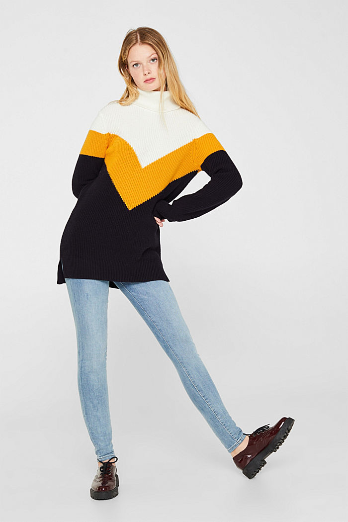 Blended wool: Colour block jumper, HONEY YELLOW, detail image number 1