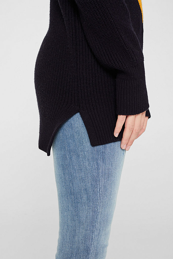 Blended wool: Colour block jumper, HONEY YELLOW, detail image number 2