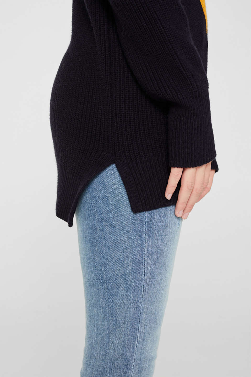 Blended wool: Colour block jumper, HONEY YELLOW 2, detail image number 2