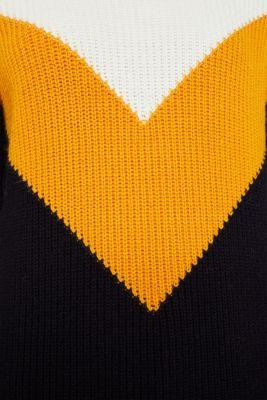 Blended wool: Colour block jumper, HONEY YELLOW 2, detail