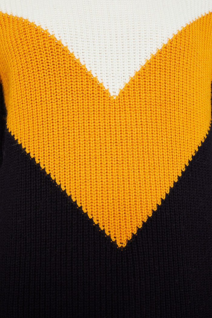 Blended wool: Colour block jumper, HONEY YELLOW, detail image number 4