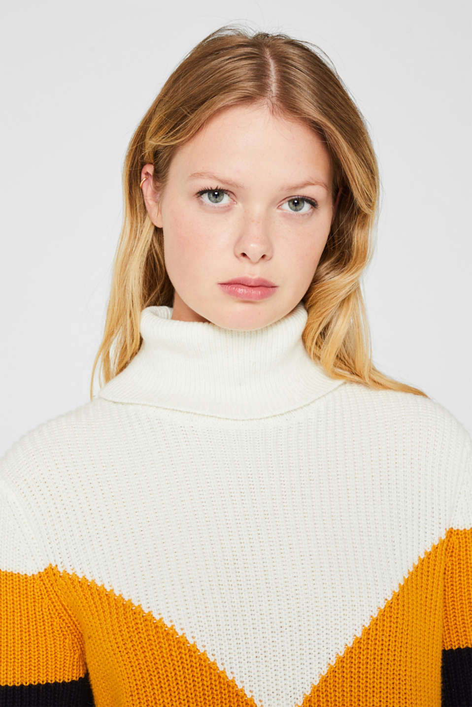 Blended wool: Colour block jumper, HONEY YELLOW 2, detail image number 5