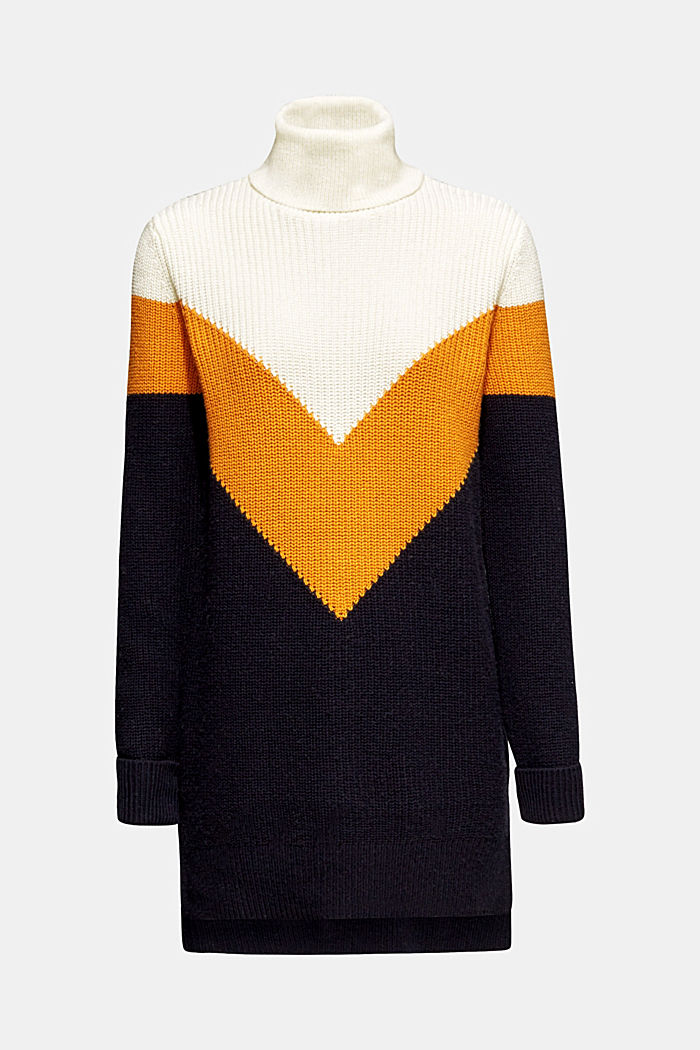 Blended wool: Colour block jumper, HONEY YELLOW, detail image number 6