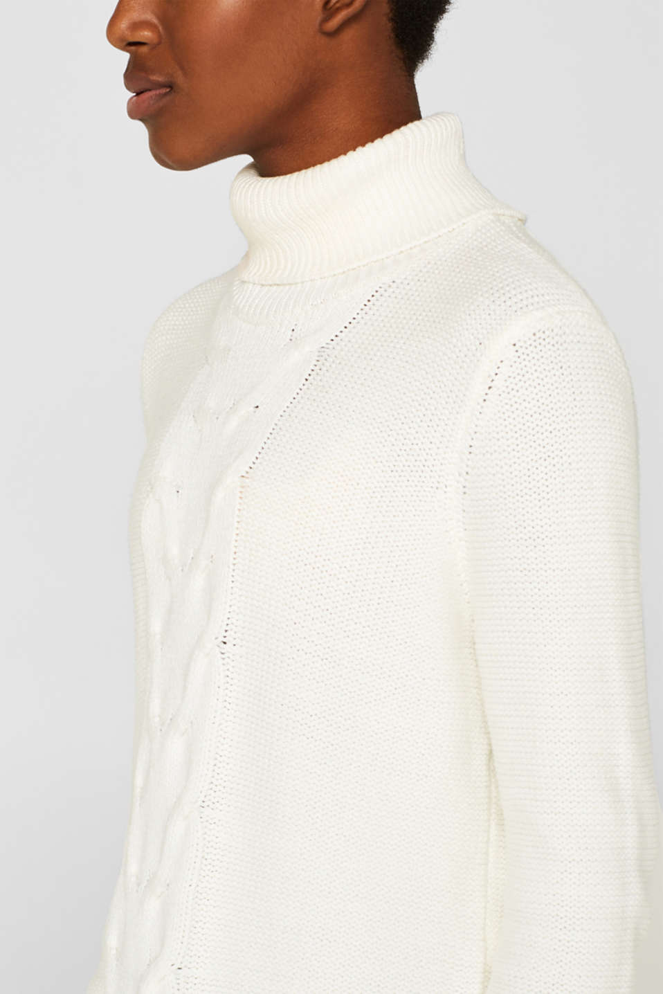 Polo neck jumper with cable pattern, OFF WHITE, detail image number 2