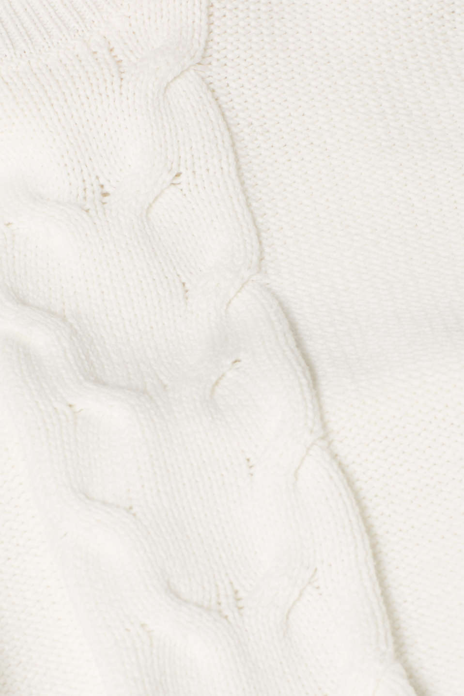 Polo neck jumper with cable pattern, OFF WHITE, detail image number 4