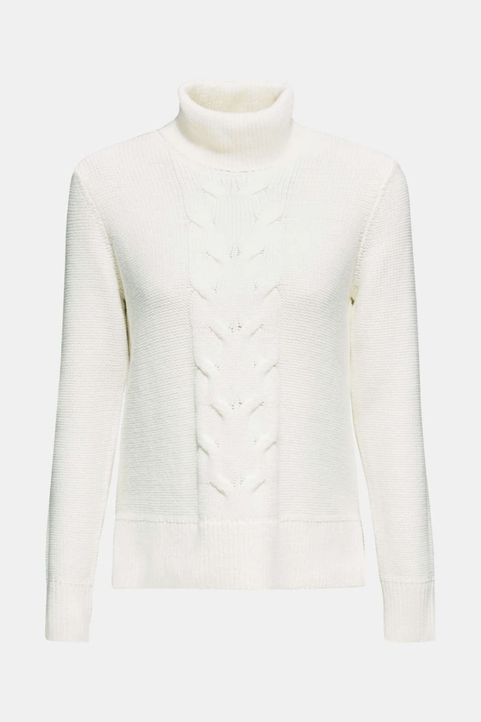 Polo neck jumper with cable pattern, OFF WHITE, detail image number 5