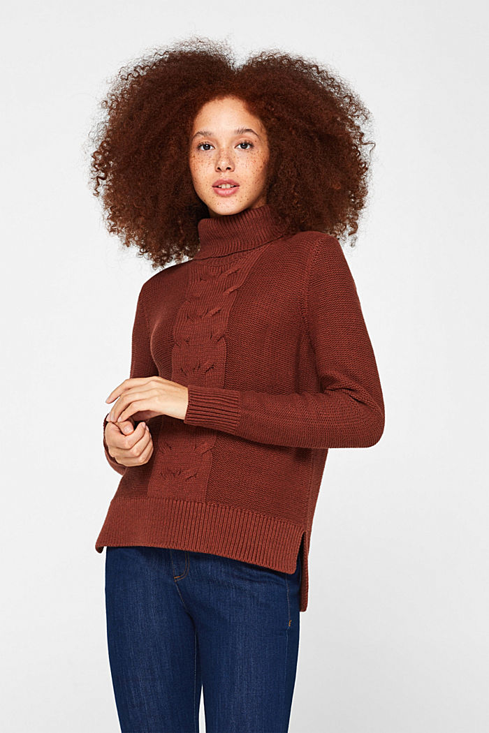 Polo neck jumper with cable pattern