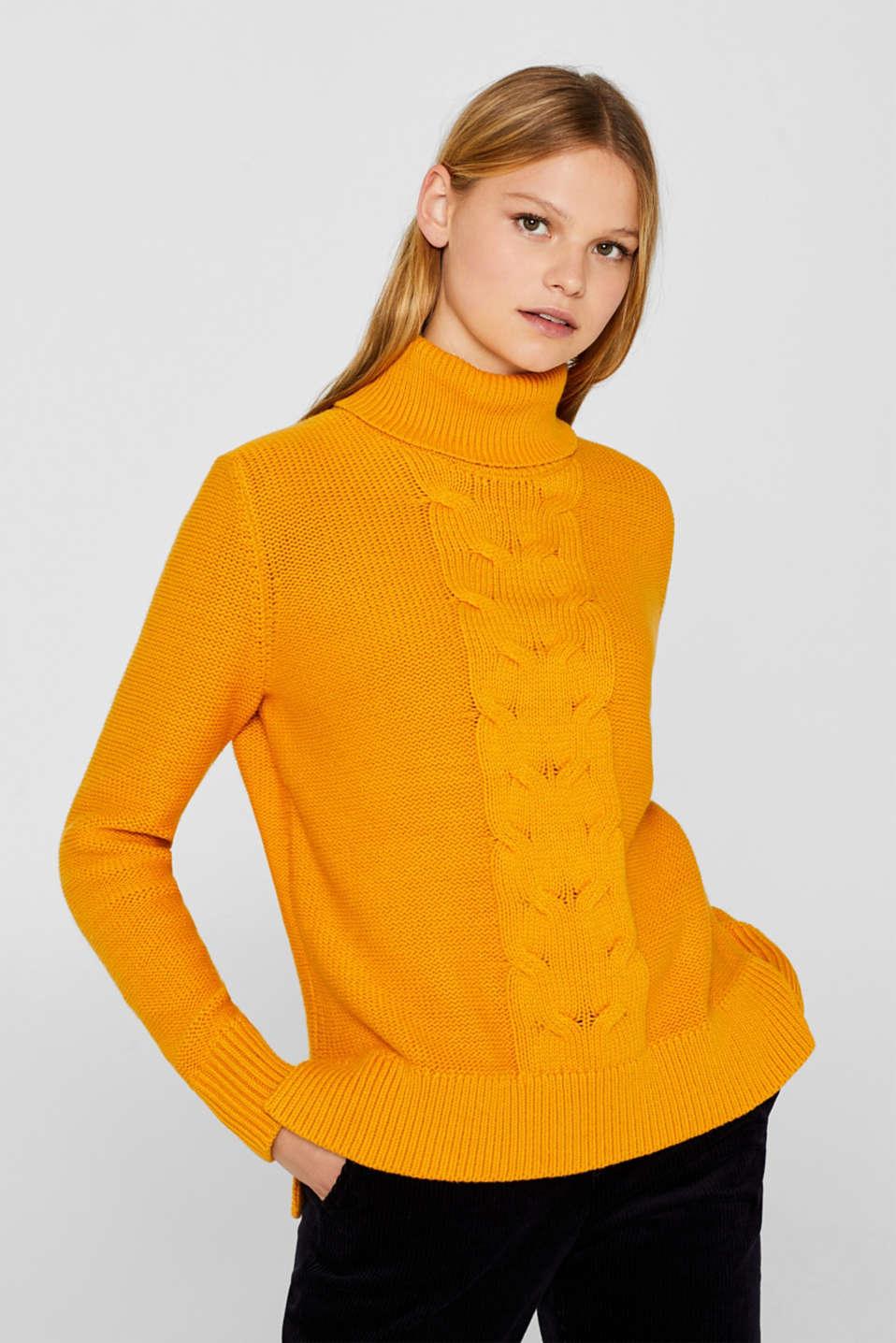 edc Rollkragen Pullover mit Zopfmuster im Online Shop kaufen