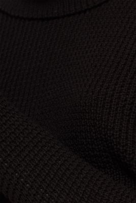 Textured jumper in blended cotton, BLACK, detail