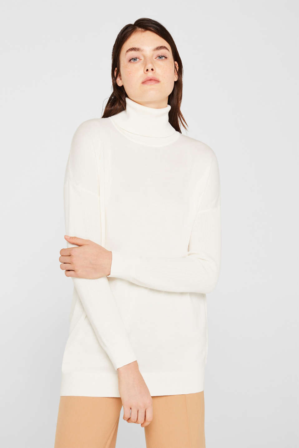 oversized polo neck jumper, OFF WHITE, detail image number 0