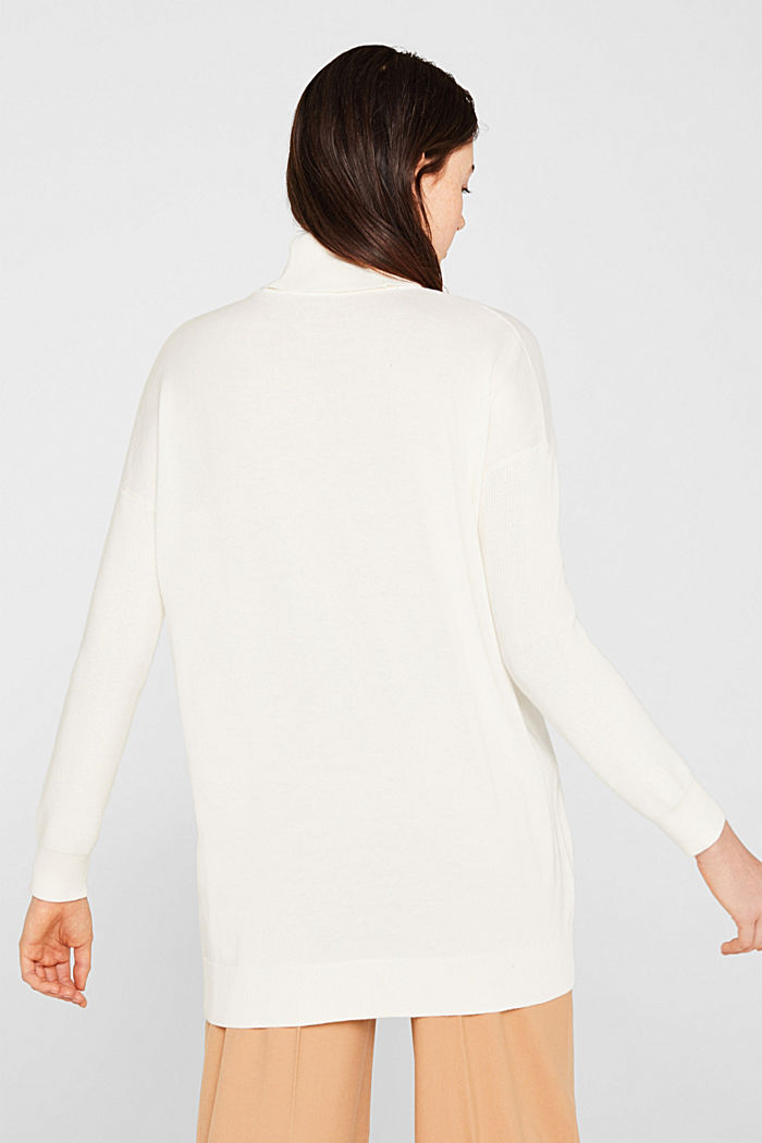 oversized polo neck jumper, OFF WHITE, detail image number 2