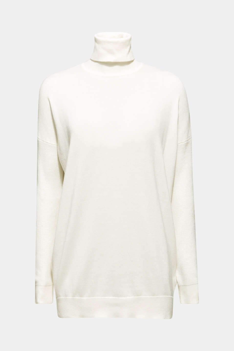 oversized polo neck jumper, OFF WHITE, detail image number 5