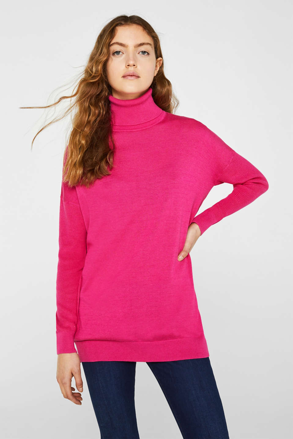 oversized polo neck jumper, PINK FUCHSIA 2, detail image number 0