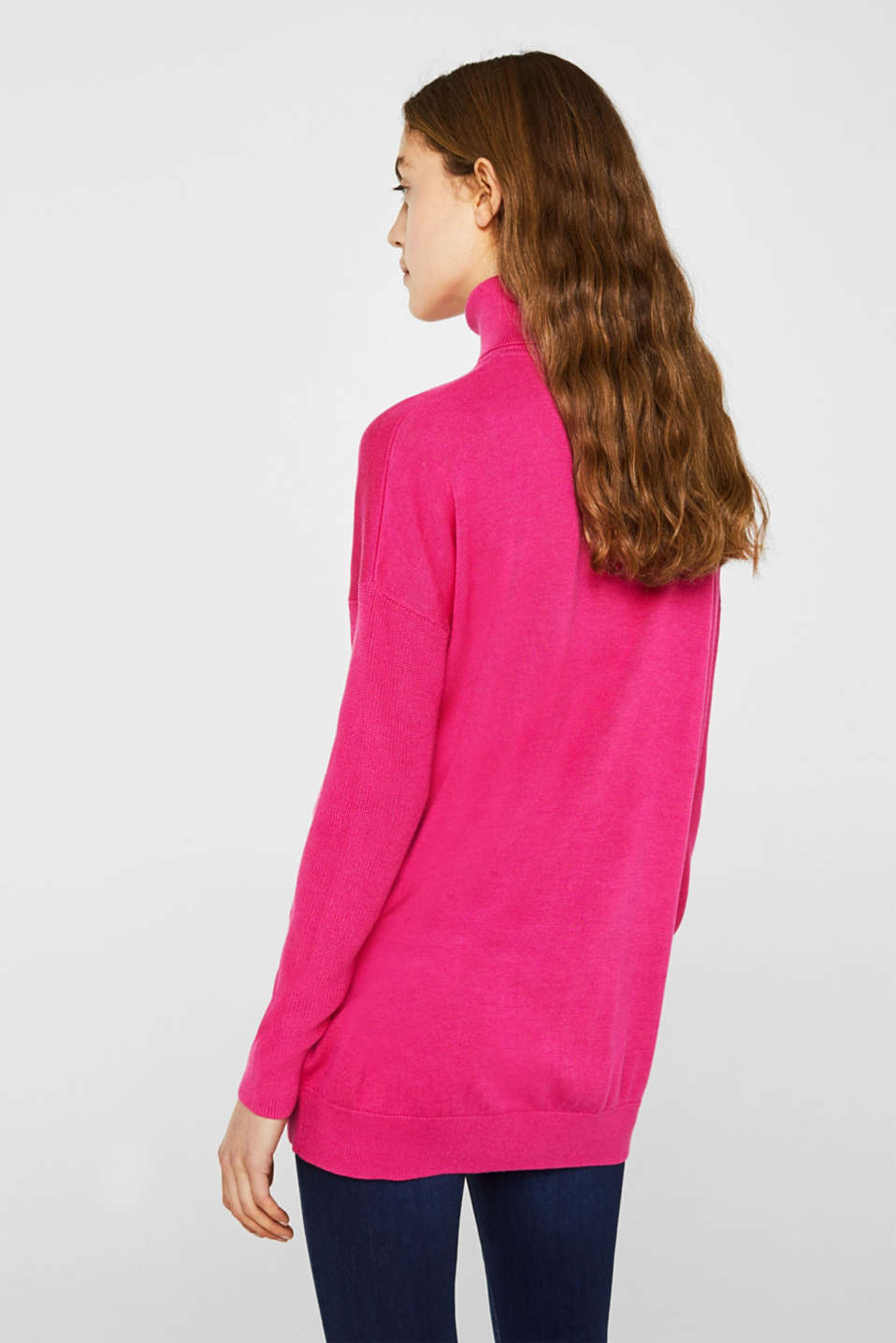 oversized polo neck jumper, PINK FUCHSIA 2, detail image number 3