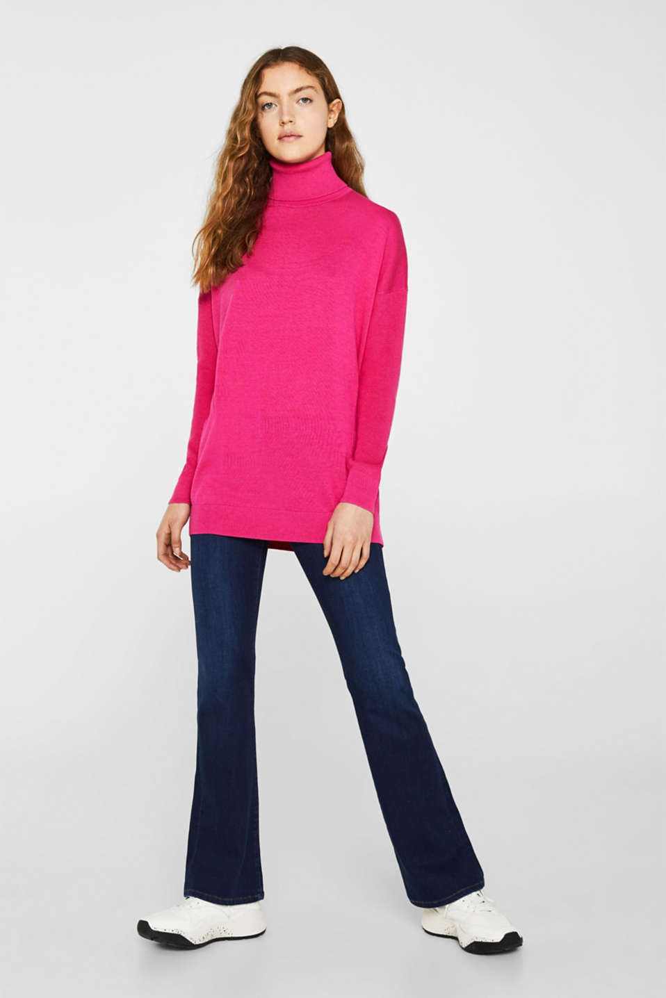 oversized polo neck jumper, PINK FUCHSIA 2, detail image number 1