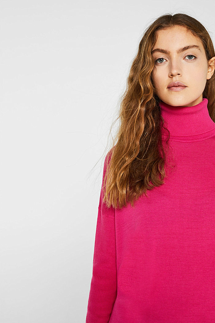 oversized polo neck jumper, PINK FUCHSIA, detail image number 5