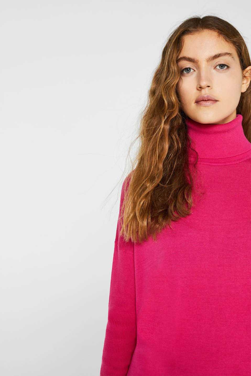 oversized polo neck jumper, PINK FUCHSIA 2, detail image number 5