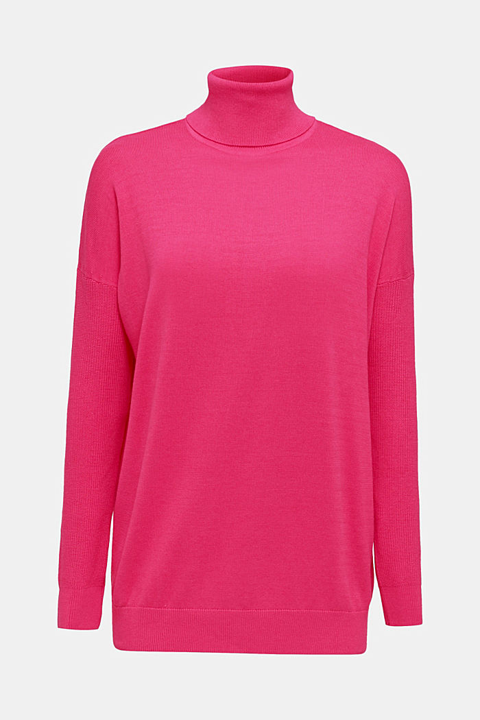 oversized polo neck jumper, PINK FUCHSIA, detail image number 6