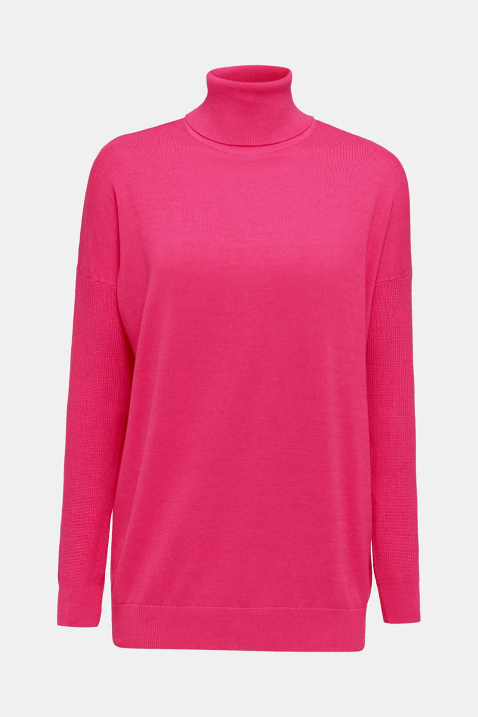 oversized polo neck jumper, PINK FUCHSIA 2, detail image number 6