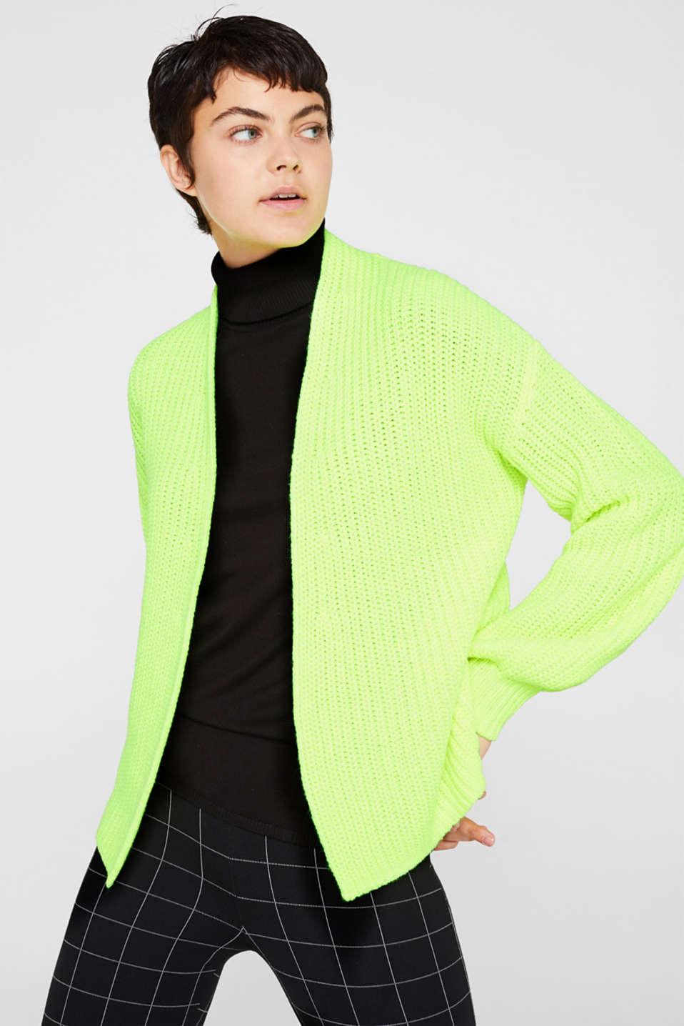 Open rib knit NEON cardigan, PASTEL YELLOW, detail image number 0