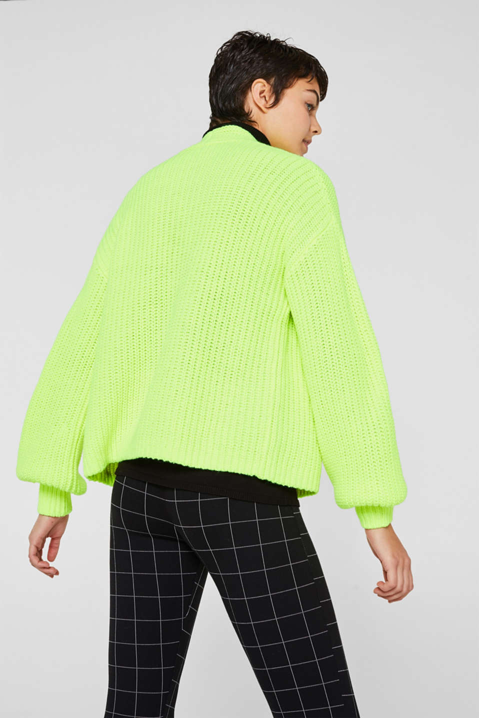 Open rib knit NEON cardigan, PASTEL YELLOW, detail image number 3