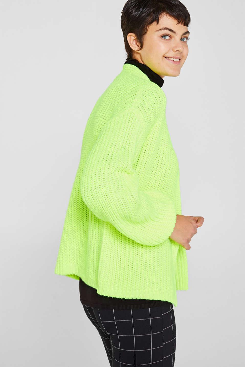 Open rib knit NEON cardigan, PASTEL YELLOW, detail image number 4