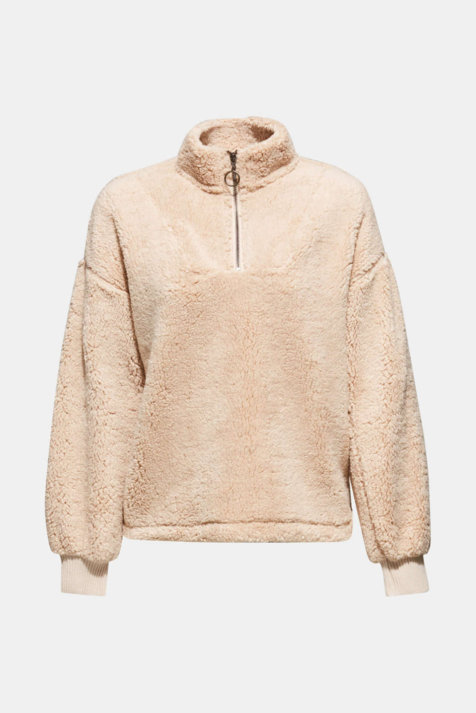 Teddy fur jumper with a zip, BEIGE, detail image number 6