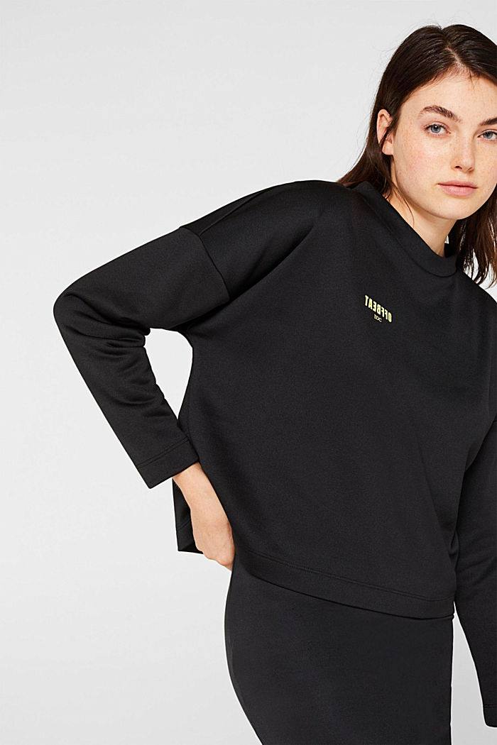 Boxy sweatshirt with printed lettering, BLACK, detail image number 0
