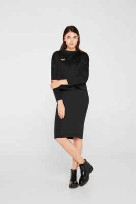 Boxy sweatshirt with printed lettering, BLACK, detail
