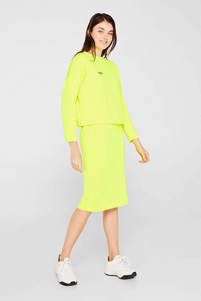 Boxy sweatshirt with printed lettering, BRIGHT YELLOW, detail image number 1