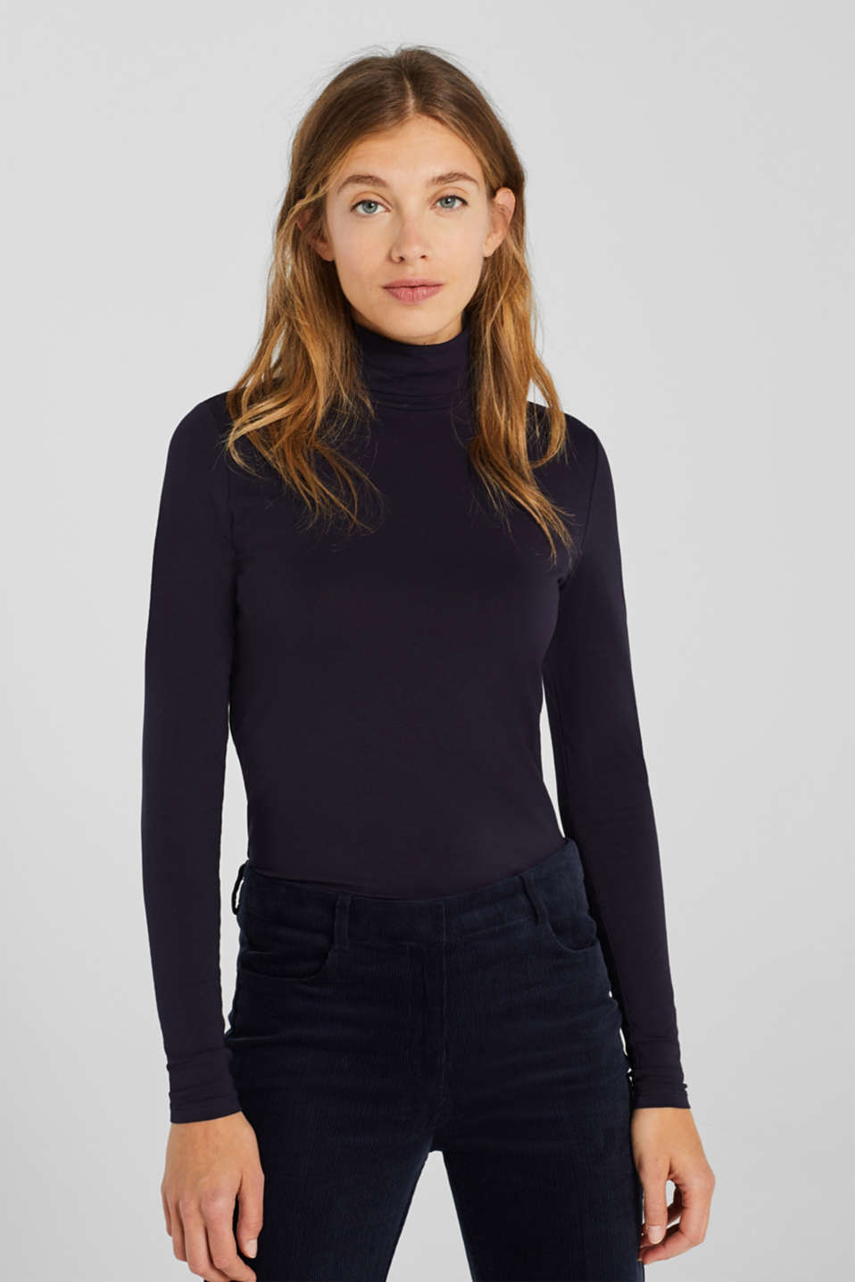 edc - Stretch long sleeve polo neck top