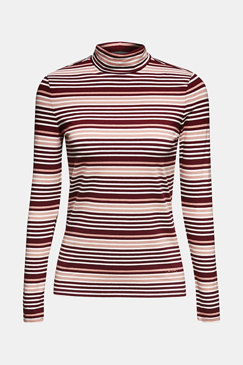 Long sleeve stretch polo neck top