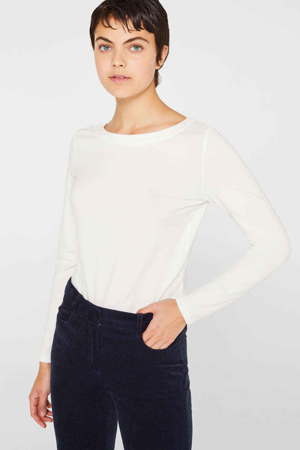 Stretch long sleeve top containing organic cotton, OFF WHITE, detail image number 0