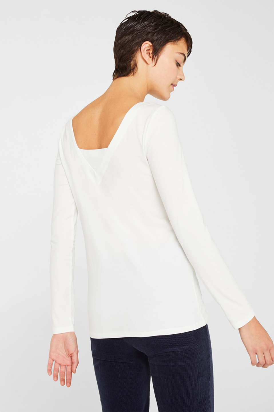 Stretch long sleeve top containing organic cotton, OFF WHITE, detail image number 3