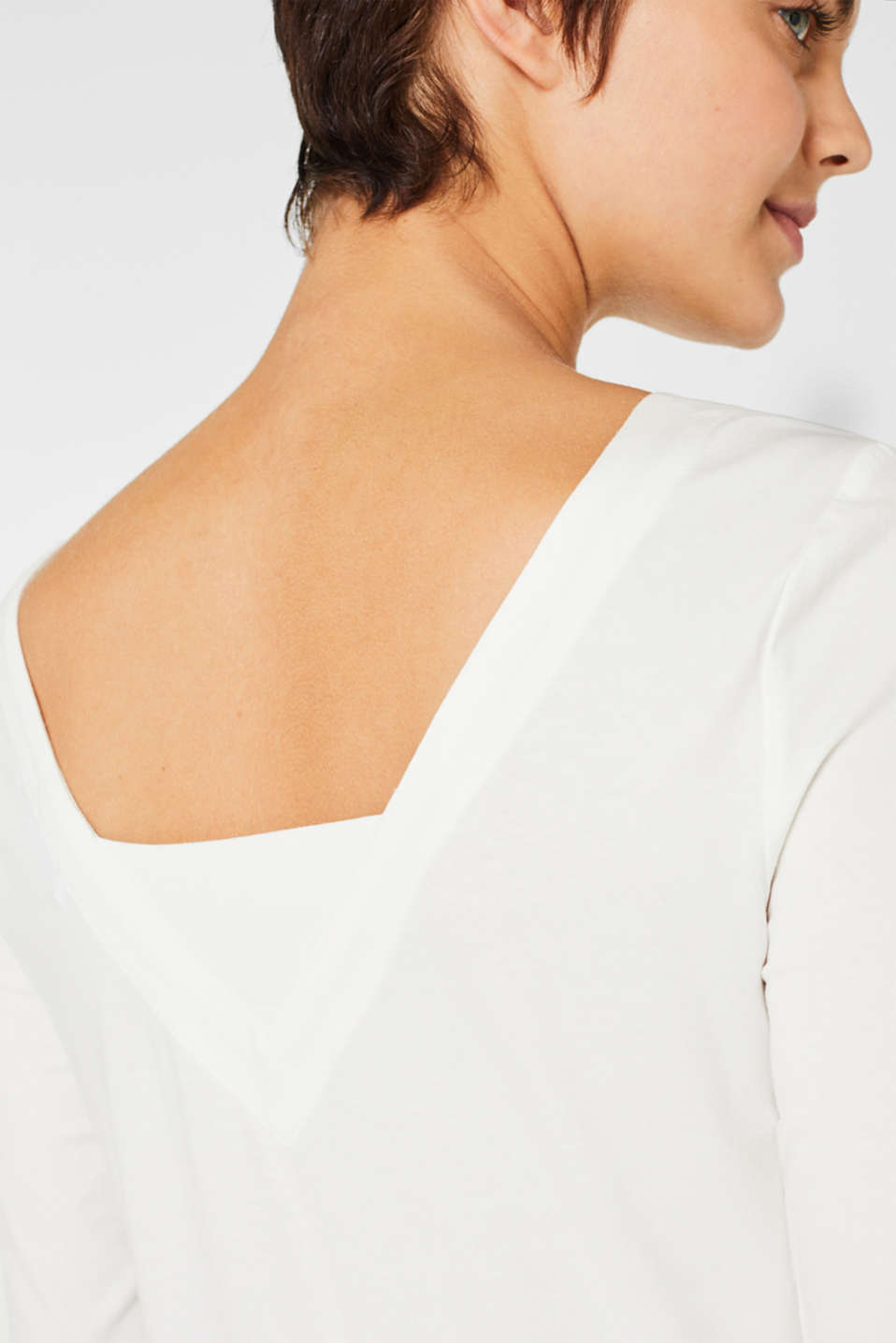 Stretch long sleeve top containing organic cotton, OFF WHITE, detail image number 4