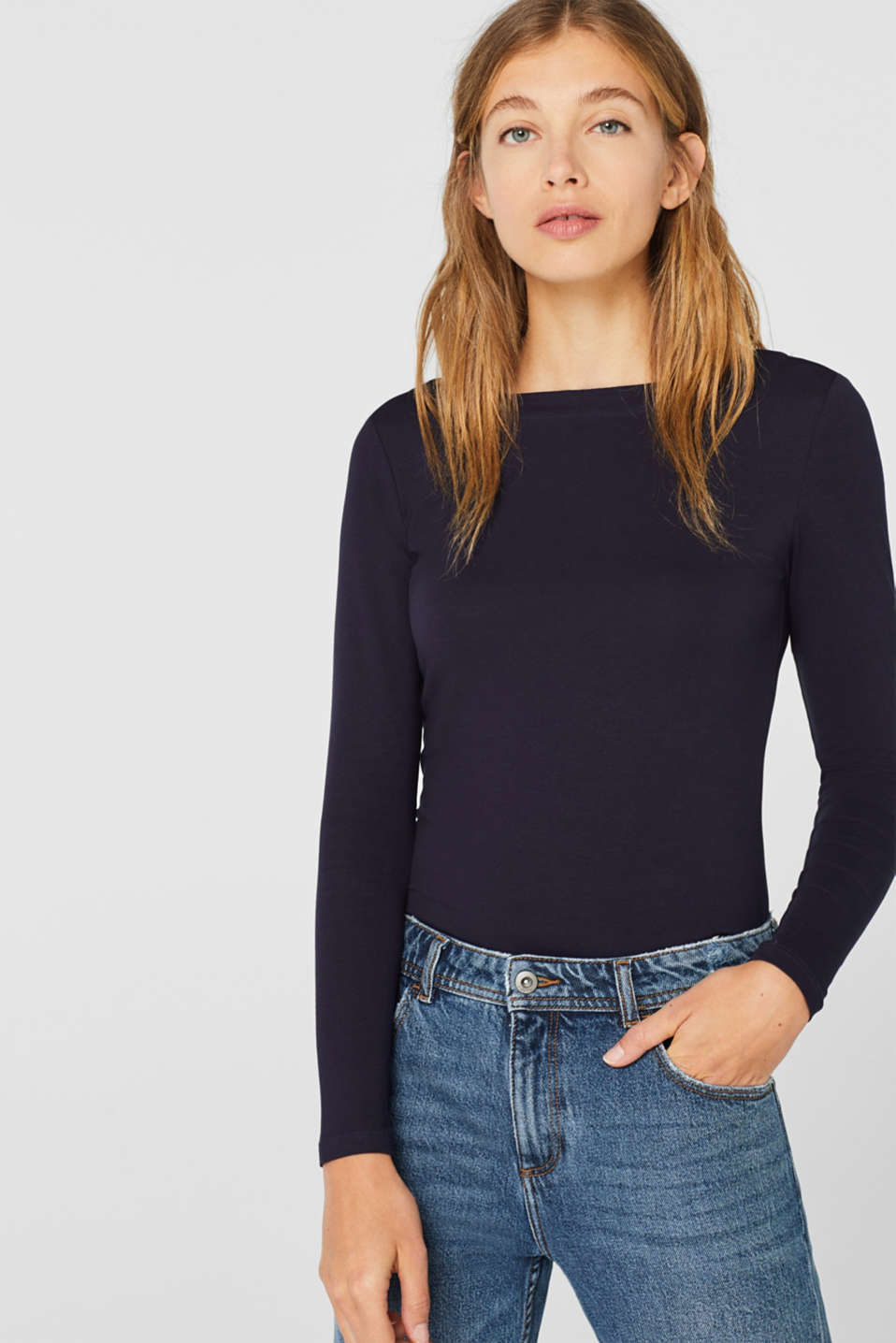 Stretch long sleeve top containing organic cotton, NAVY, detail image number 0