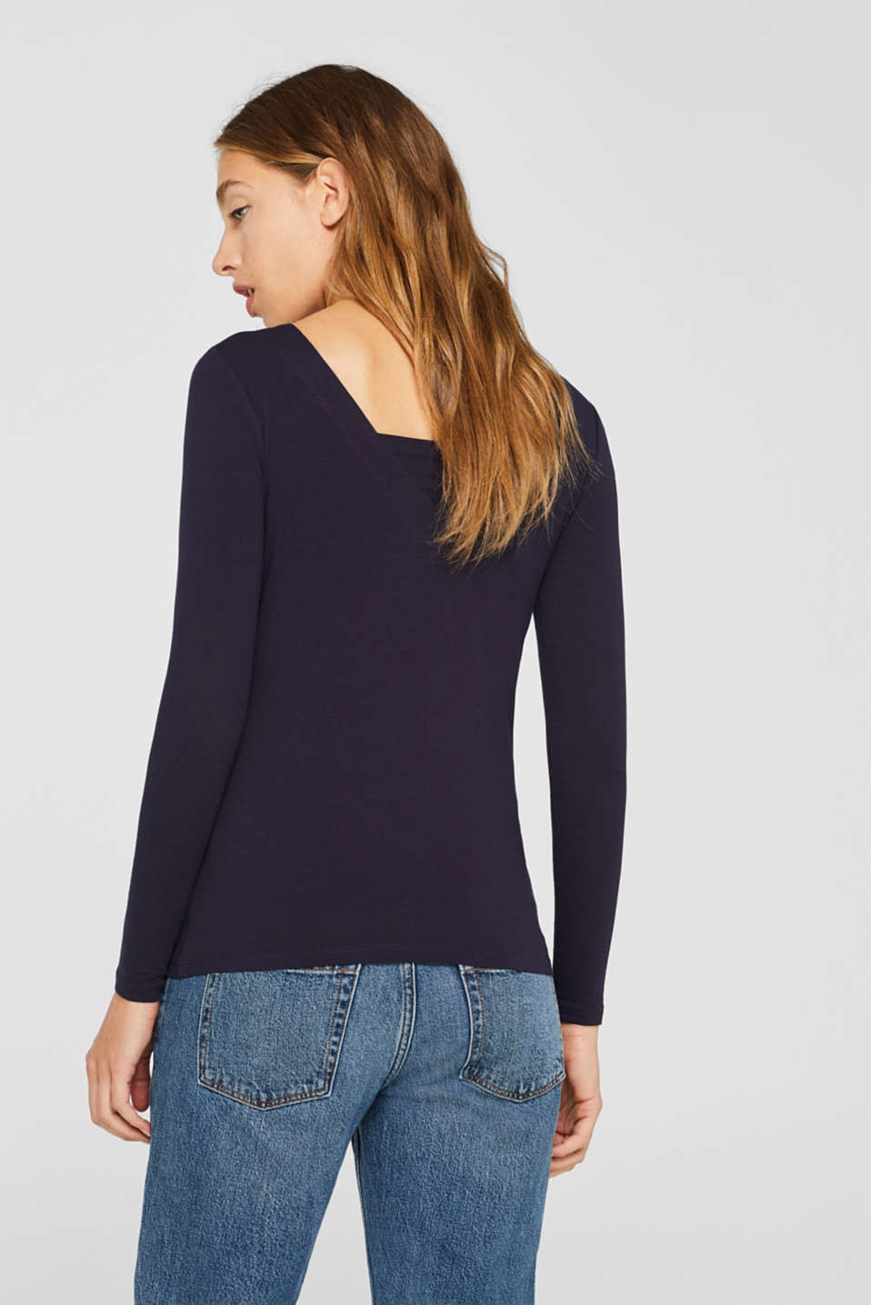 Stretch long sleeve top containing organic cotton, NAVY, detail image number 3