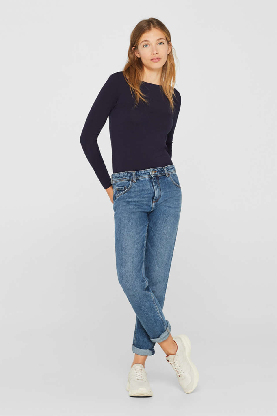 Stretch long sleeve top containing organic cotton, NAVY, detail image number 1