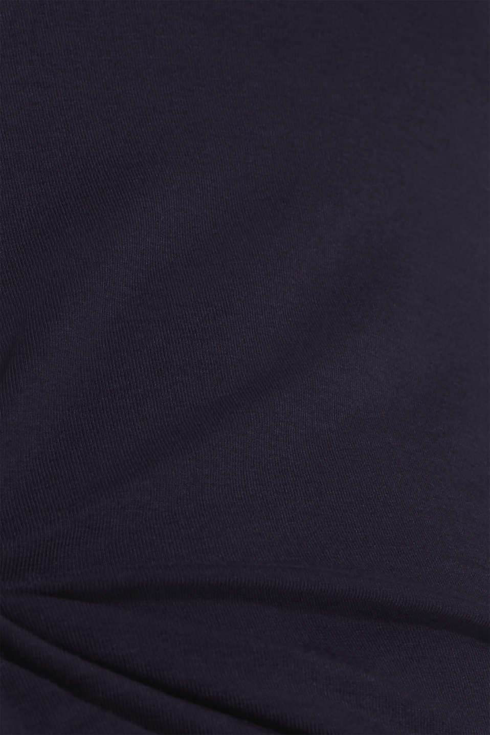 Stretch long sleeve top containing organic cotton, NAVY, detail image number 4