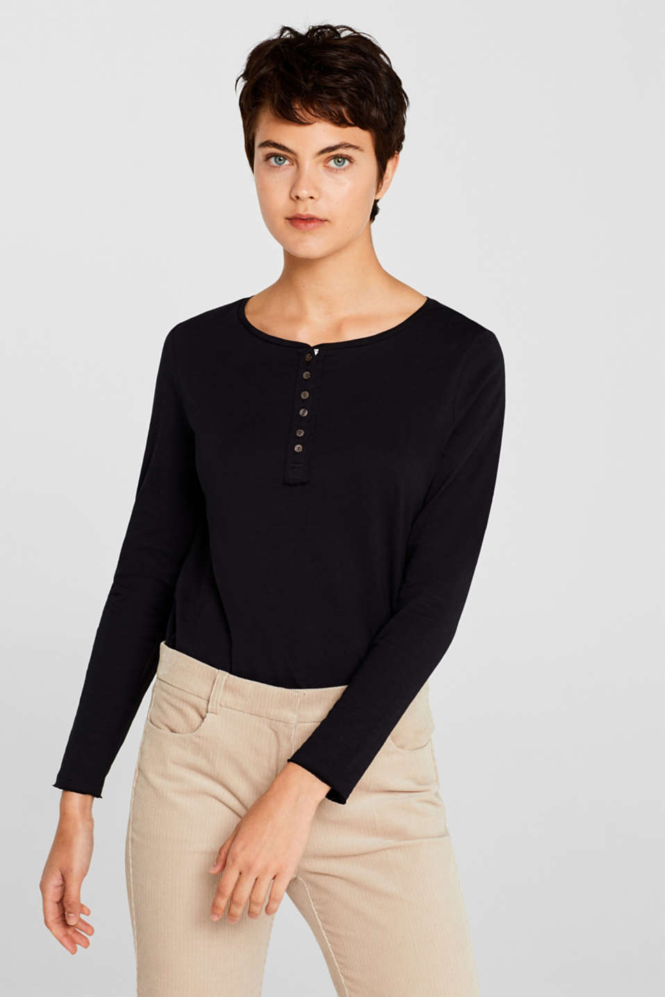 Henley long sleeve top with organic cotton, BLACK, detail image number 0