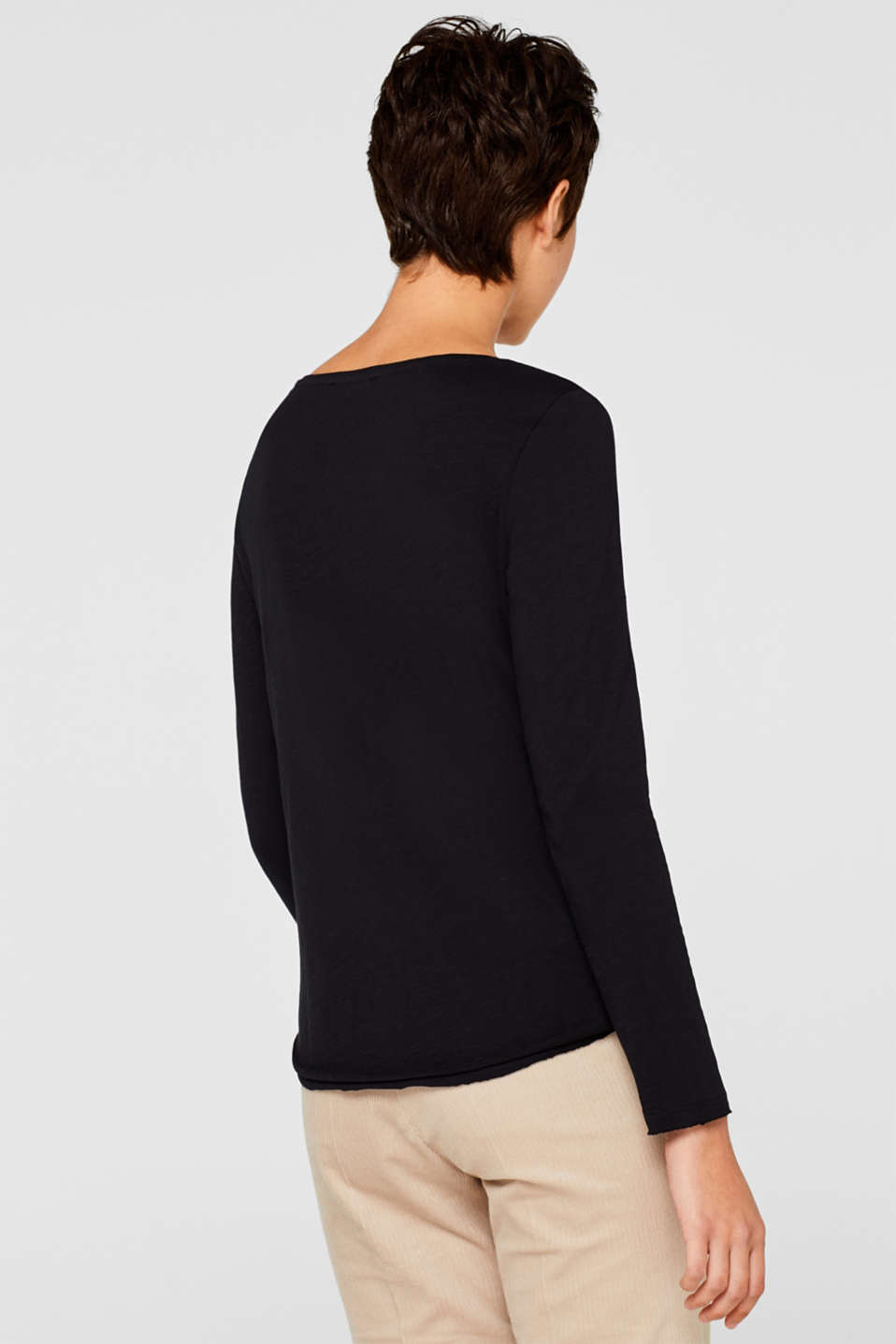 Henley long sleeve top with organic cotton, BLACK, detail image number 3