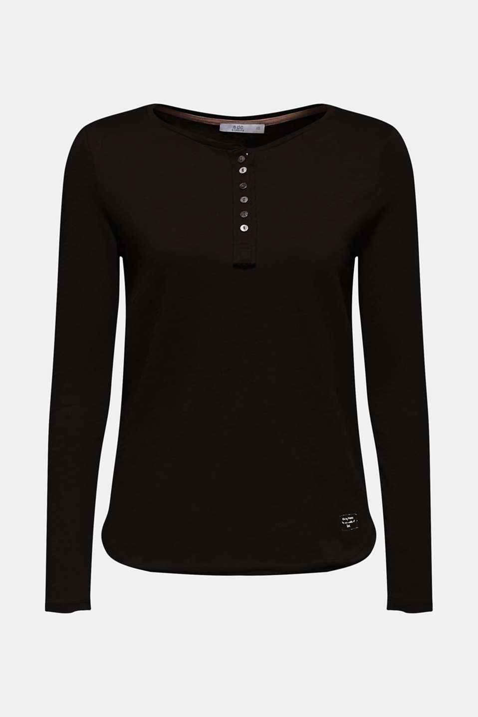 Henley long sleeve top with organic cotton, BLACK, detail image number 5