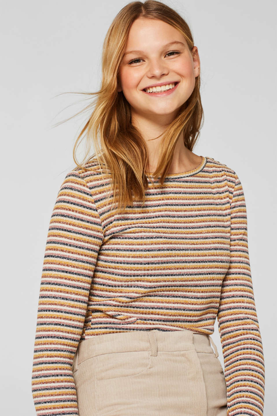 edc - Stretch long sleeve top with a ribbed texture