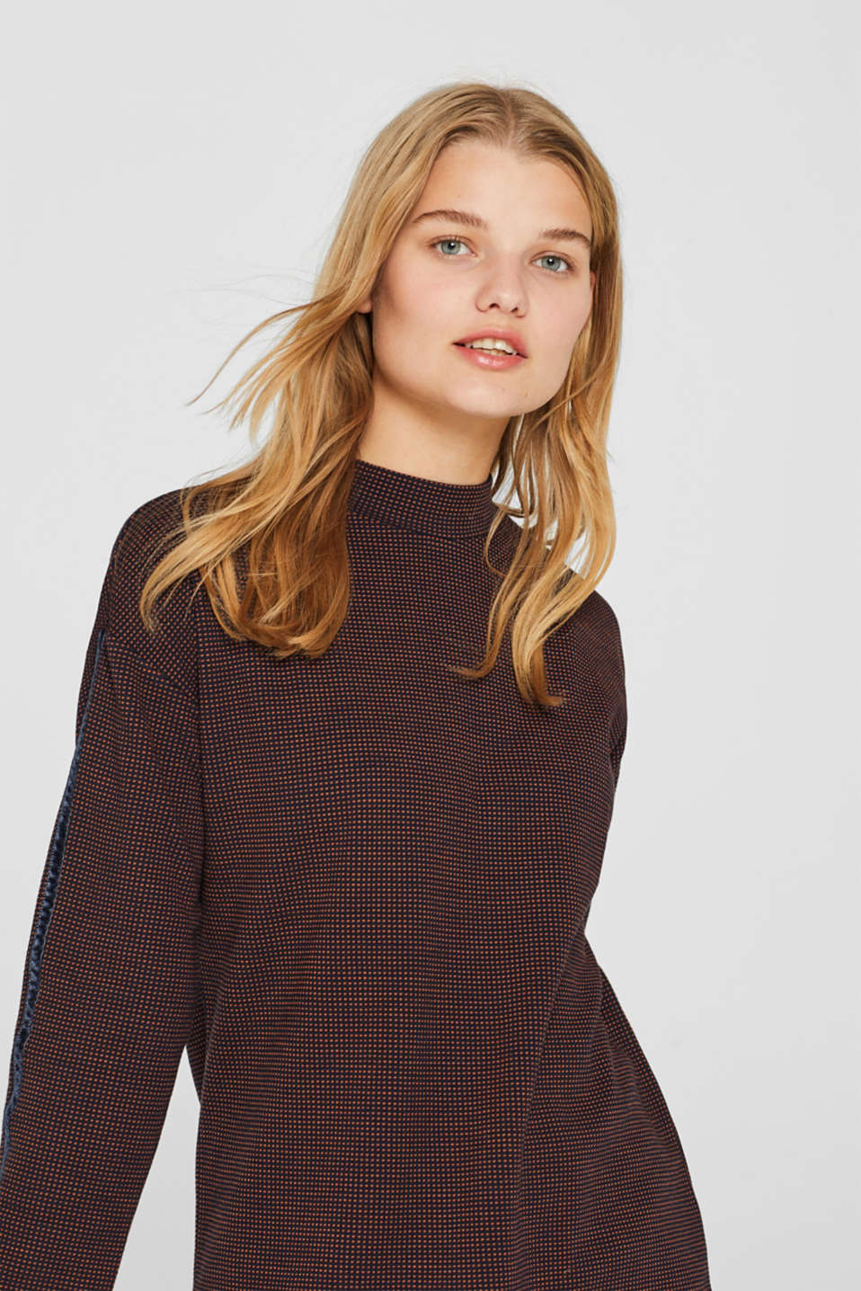 Long sleeve jacquard top with stand-up collar, NAVY, detail image number 0