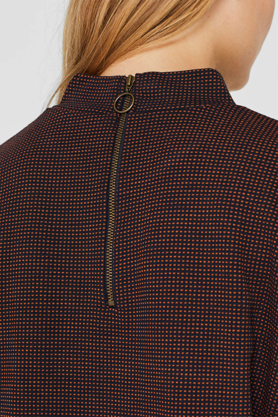 Long sleeve jacquard top with stand-up collar, NAVY, detail image number 2