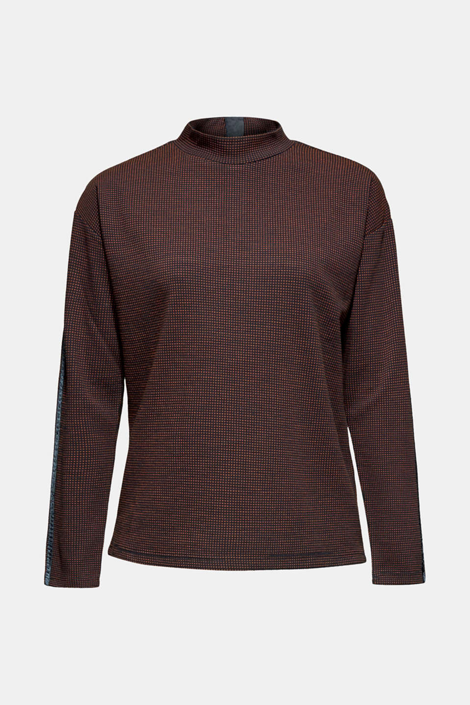 Long sleeve jacquard top with stand-up collar, NAVY, detail image number 7